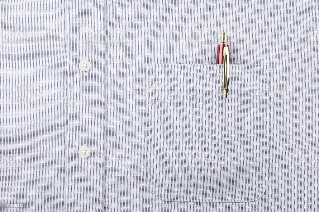 Blue Striped Shirt Pocket and Pen stock photo