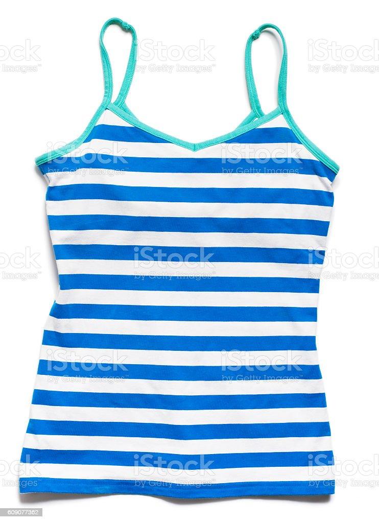 Blue striped tank top shirt on white stock photo
