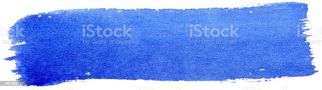 Blue stroke of gouache paint brush isolated on white stock photo