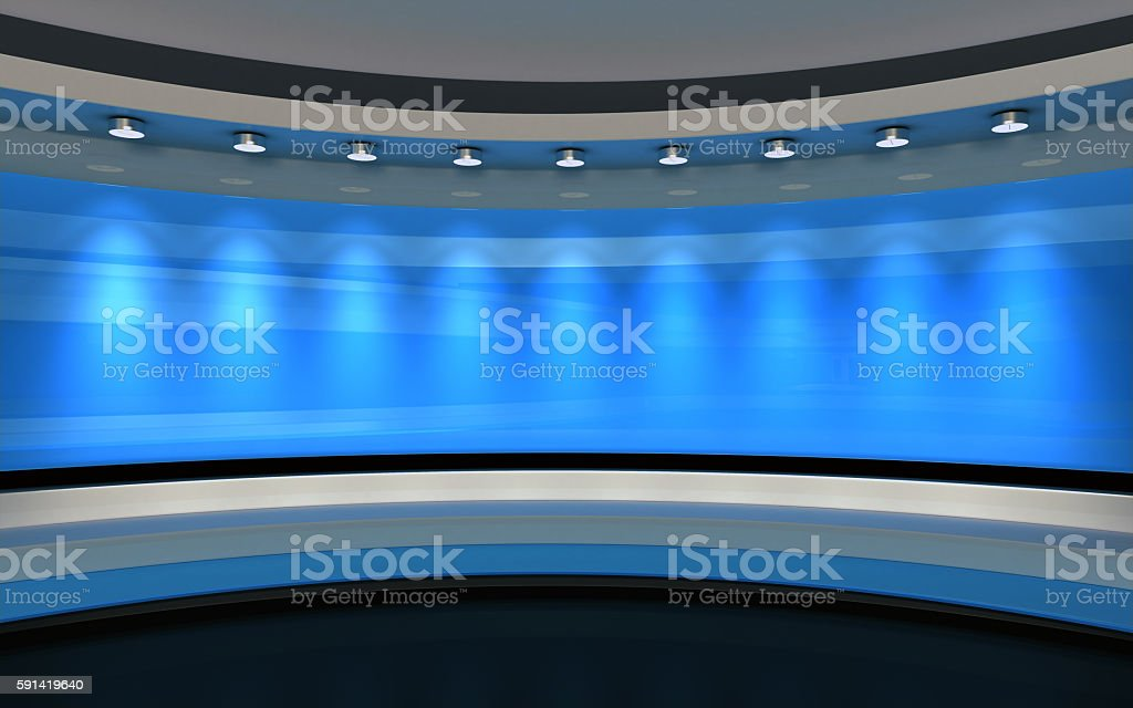 Blue Studio. Blue backdrop. 3d rendering stock photo