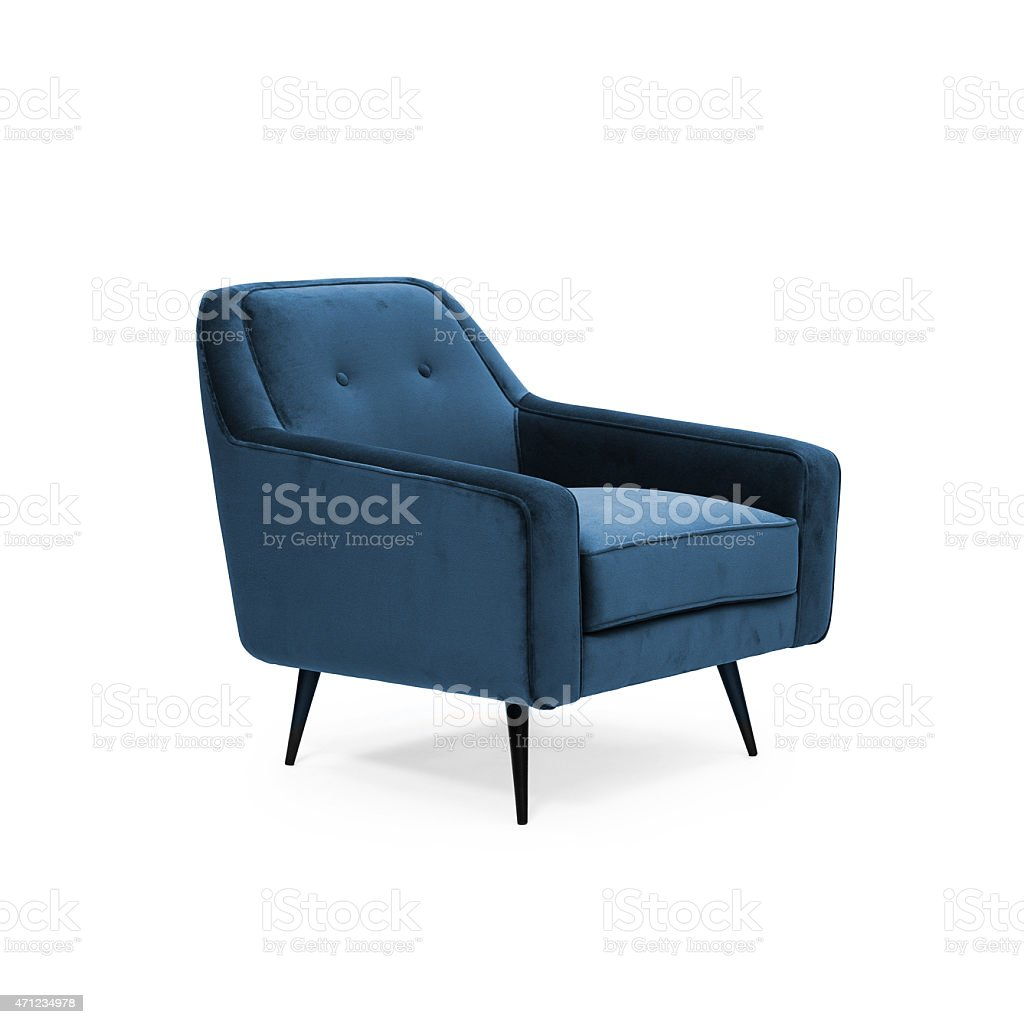 Blue suede armchair stock photo