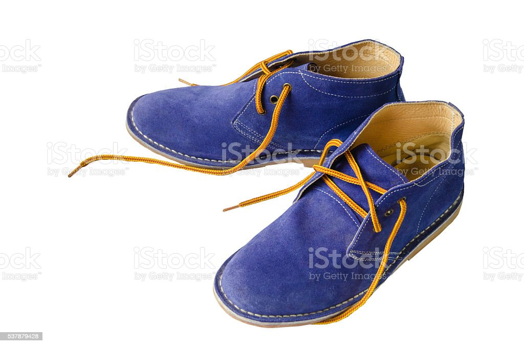 Blue suede shoes leather stock photo
