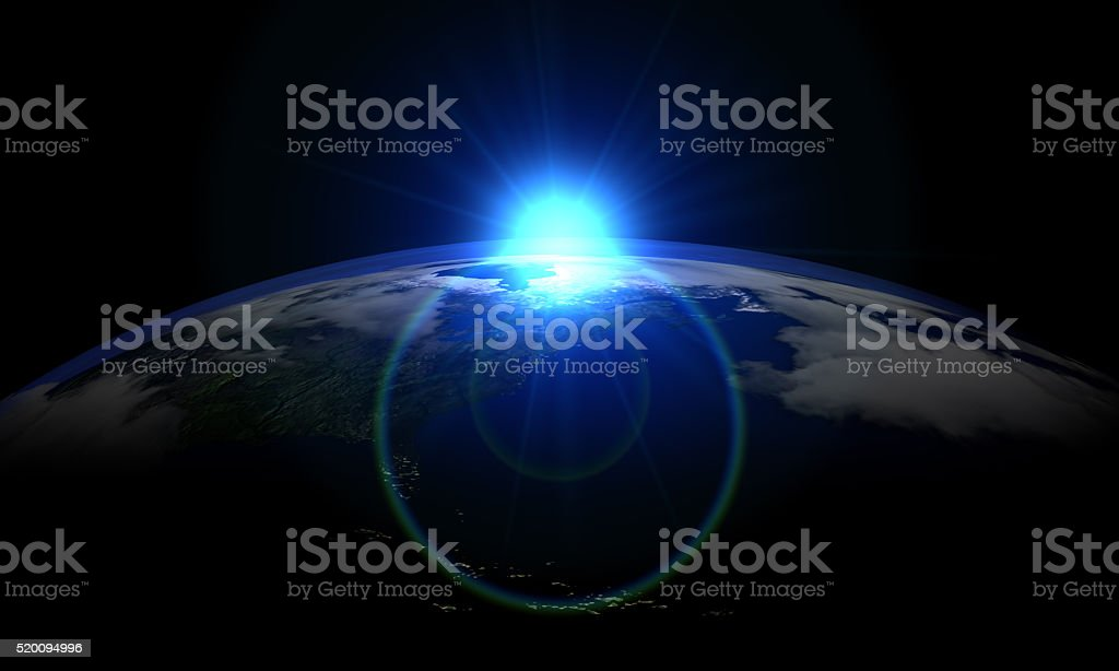 Blue Sun and World stock photo