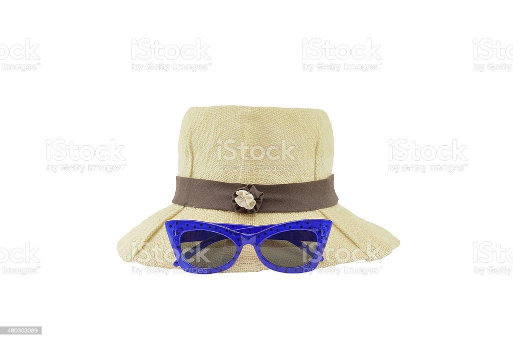 Blue Sunglasses and Ladies Hat stock photo