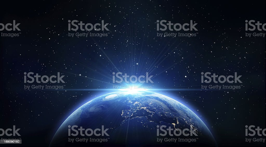 blue sunrise, view of earth from space stock photo