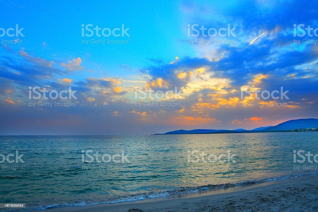 blue sunset in Alghero stock photo