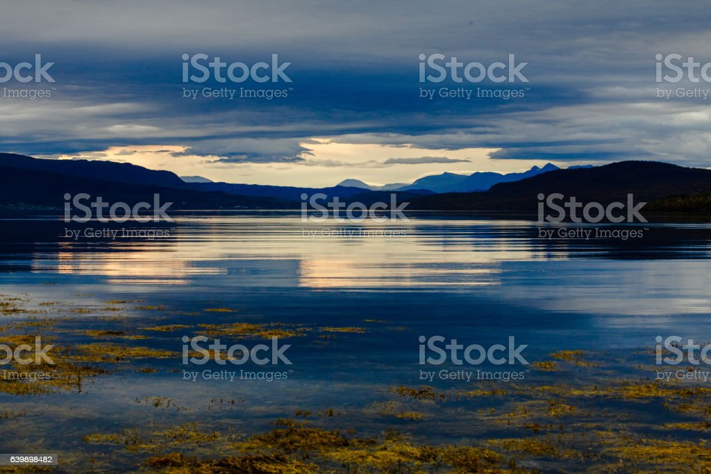 Blue Sunset in Norway stock photo