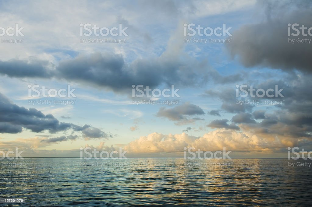 Blue Sunset over Caribbean sea stock photo