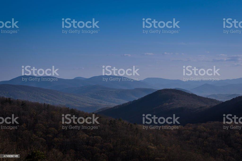 Blue Sunset over the Blue Ridge Mountains stock photo