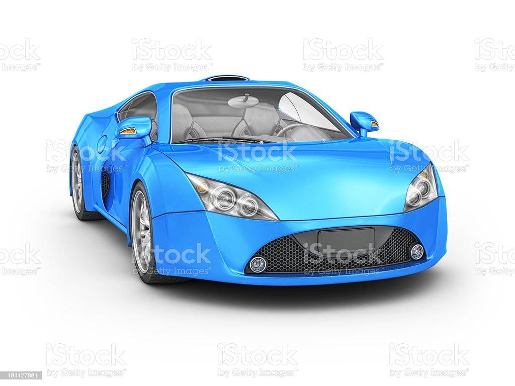 blue supercar stock photo