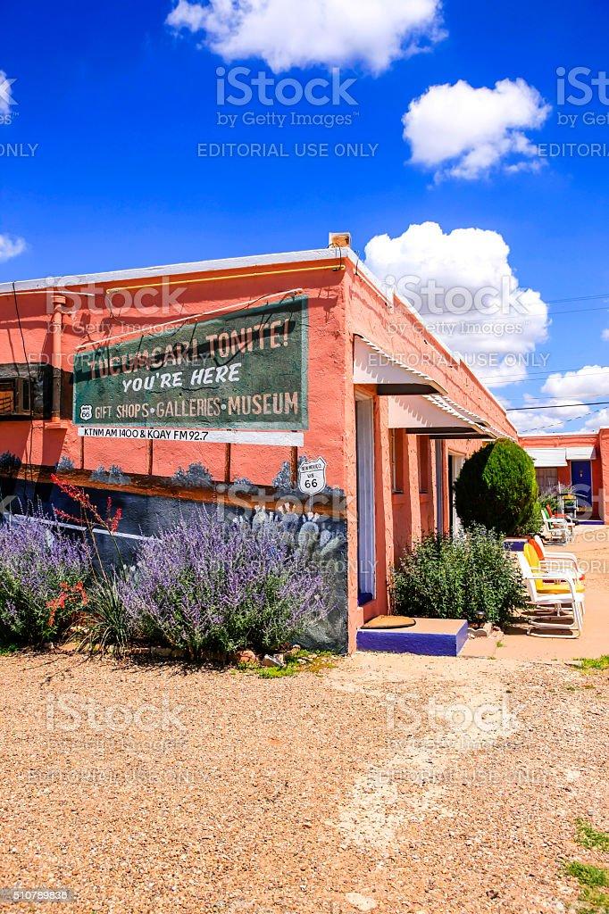 Blue Swallow Motel building on Route 66 in Tucumcari, NM stock photo