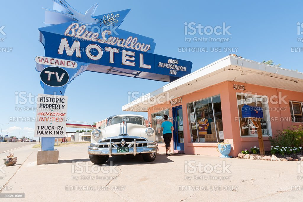 Blue Swallow Motel, Tucumcari, Route 66, New Mexico, USA. stock photo