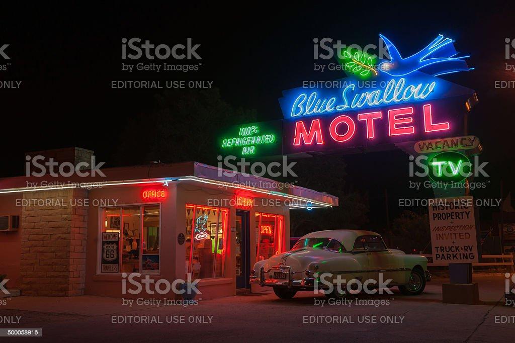 Blue Swallow Motel, Tucumcari, Route 66, New Mexico, USA. stock photo