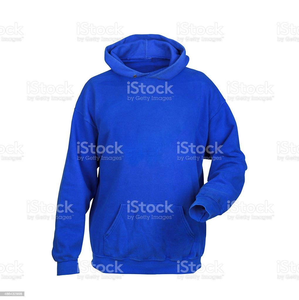 blue sweatshirt with hood isolated on white background stock photo