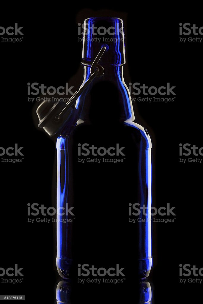 Blue swing top bottle stock photo