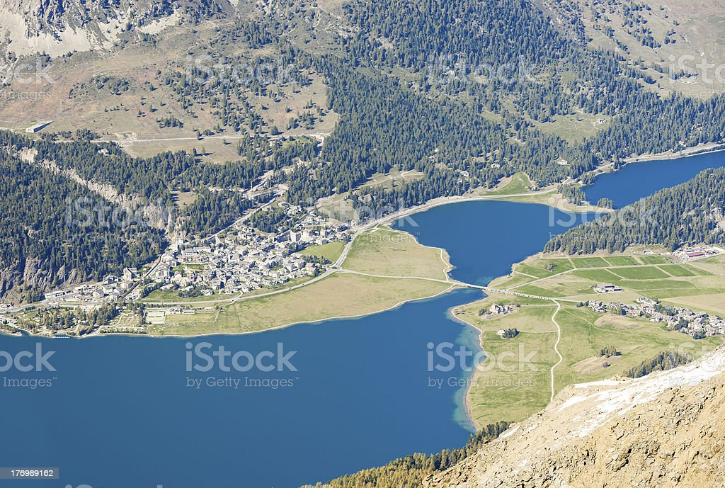 Blue Swiss Mountain Lake stock photo