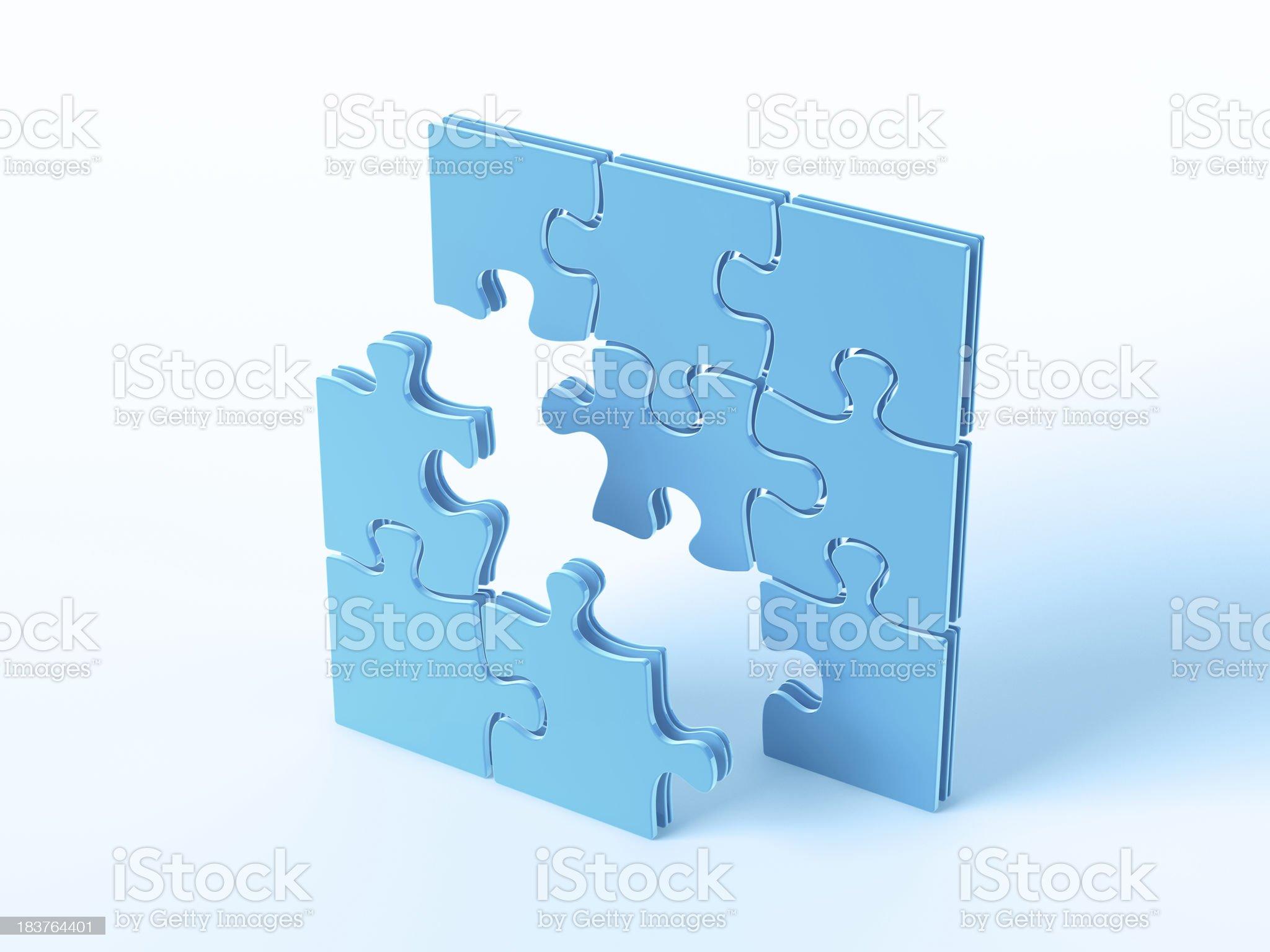 Blue Symbol Building Jigsaw Puzzle royalty-free stock photo