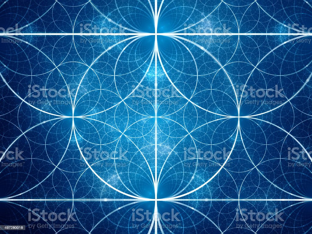 Blue symmetrical fractal circles stock photo