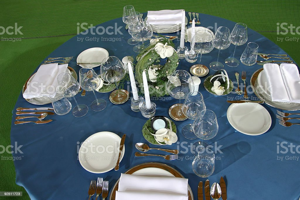 Blue table royalty-free stock photo