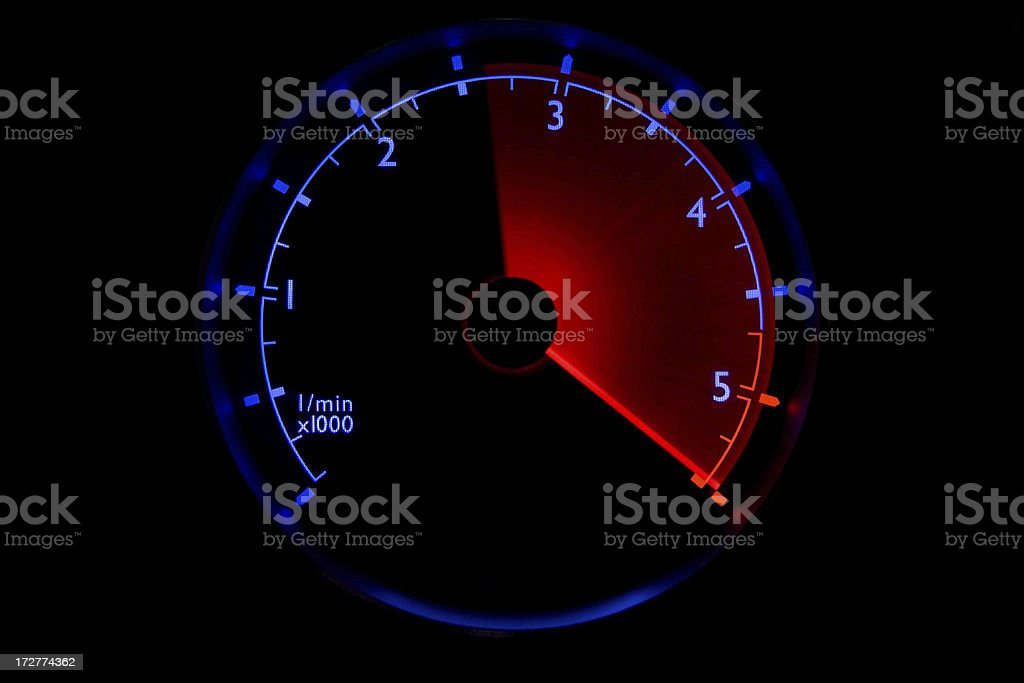 Blue tachometer - 2500 to 5500 rpm royalty-free stock photo