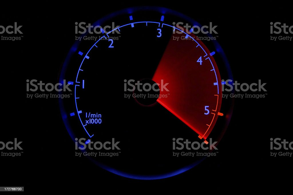 Blue tachometer - 3100 to 5000 rpm royalty-free stock photo