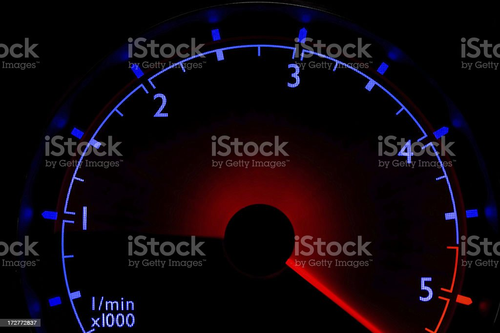 Blue tachometer - over 5500 rpm royalty-free stock photo