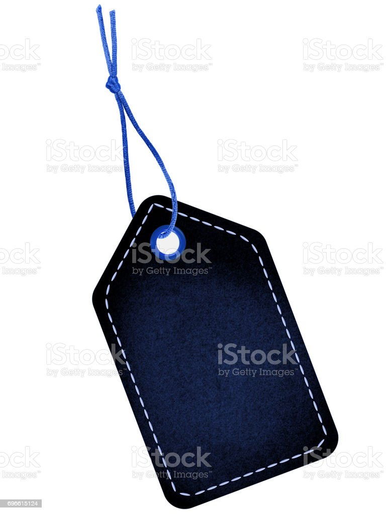 Blue tag label with string stock photo