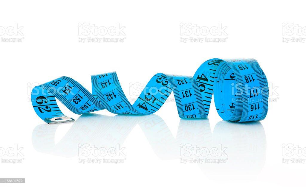 Blue tape measure stock photo