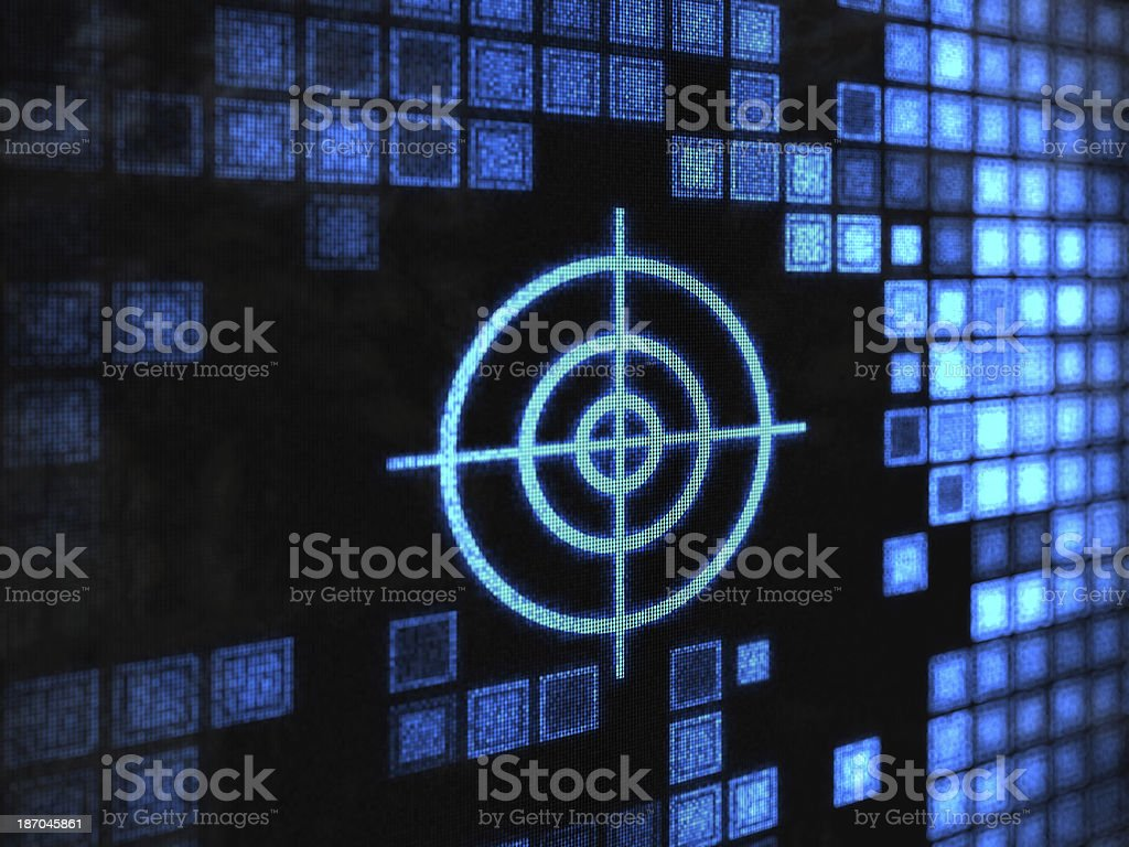 Blue target over black background with digital blue squares stock photo
