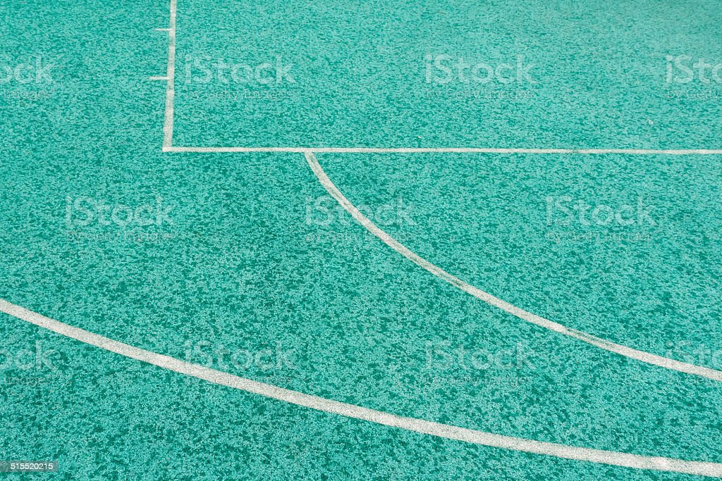 blue tartan track rubber and white line stock photo