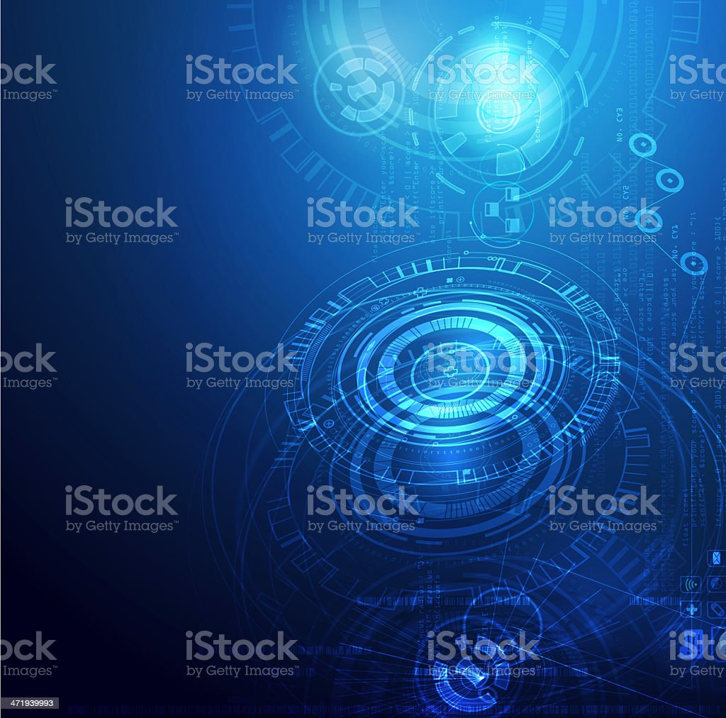 Blue technology background with concentric circles royalty-free stock photo