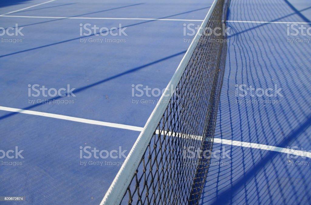 Blue Tennis Court Scene stock photo