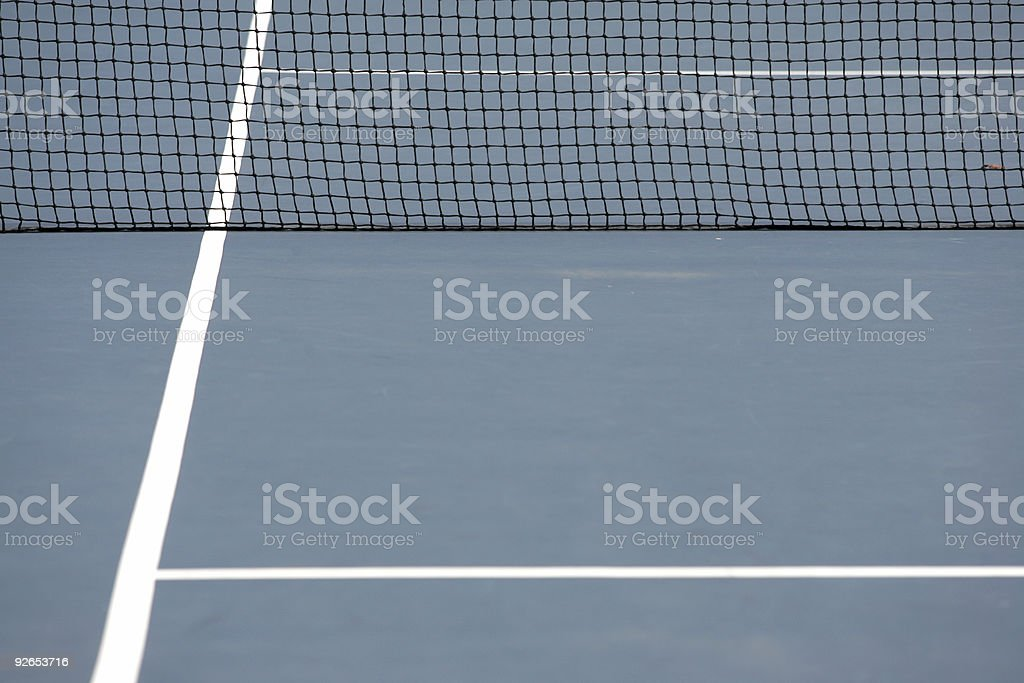 Blue tennis playing surface stock photo