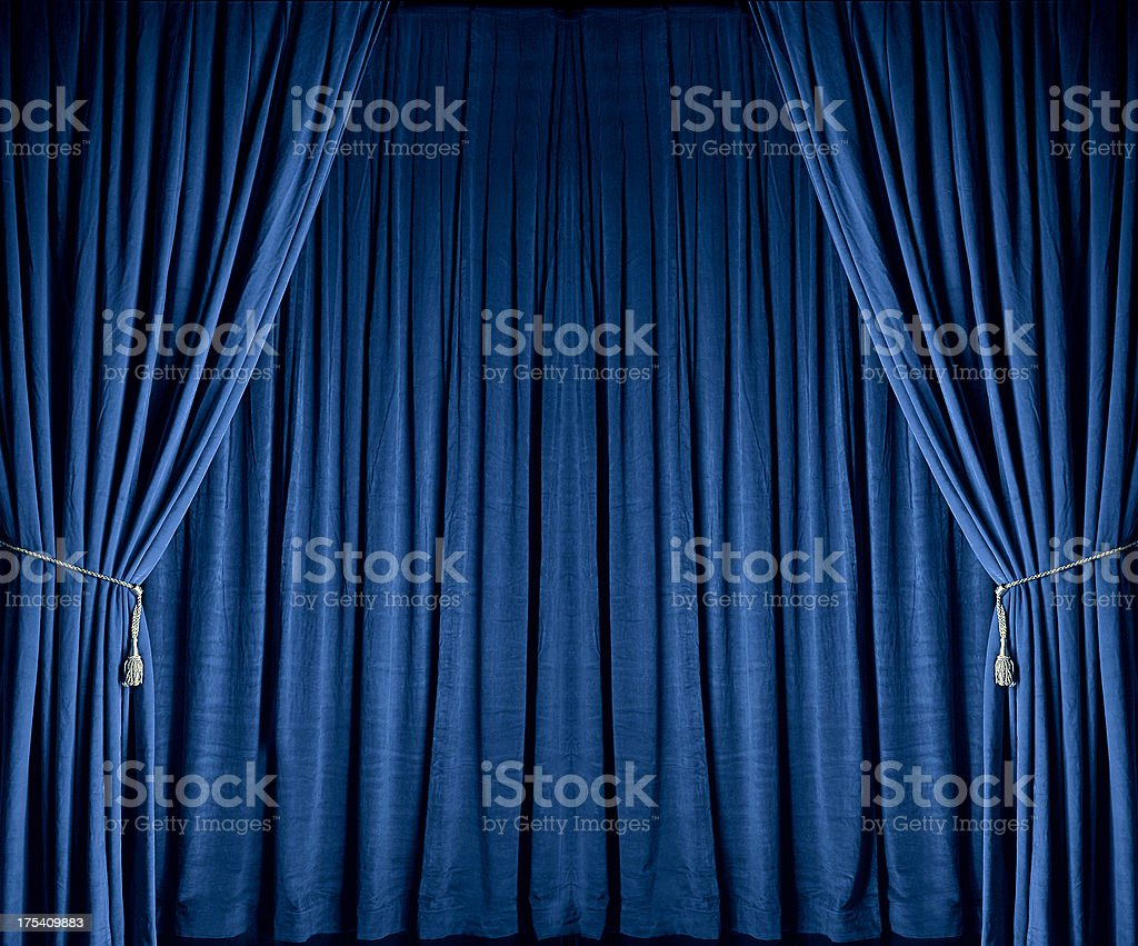 Blue Theatre Drapes stock photo