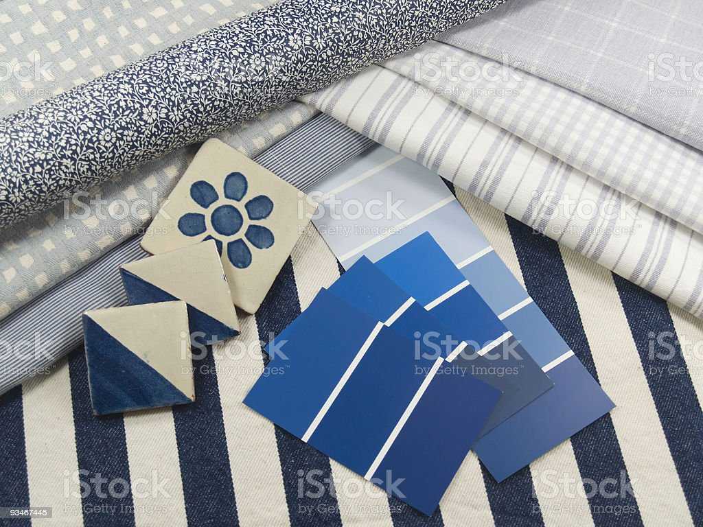 Blue themed interior decoration plan royalty-free stock photo