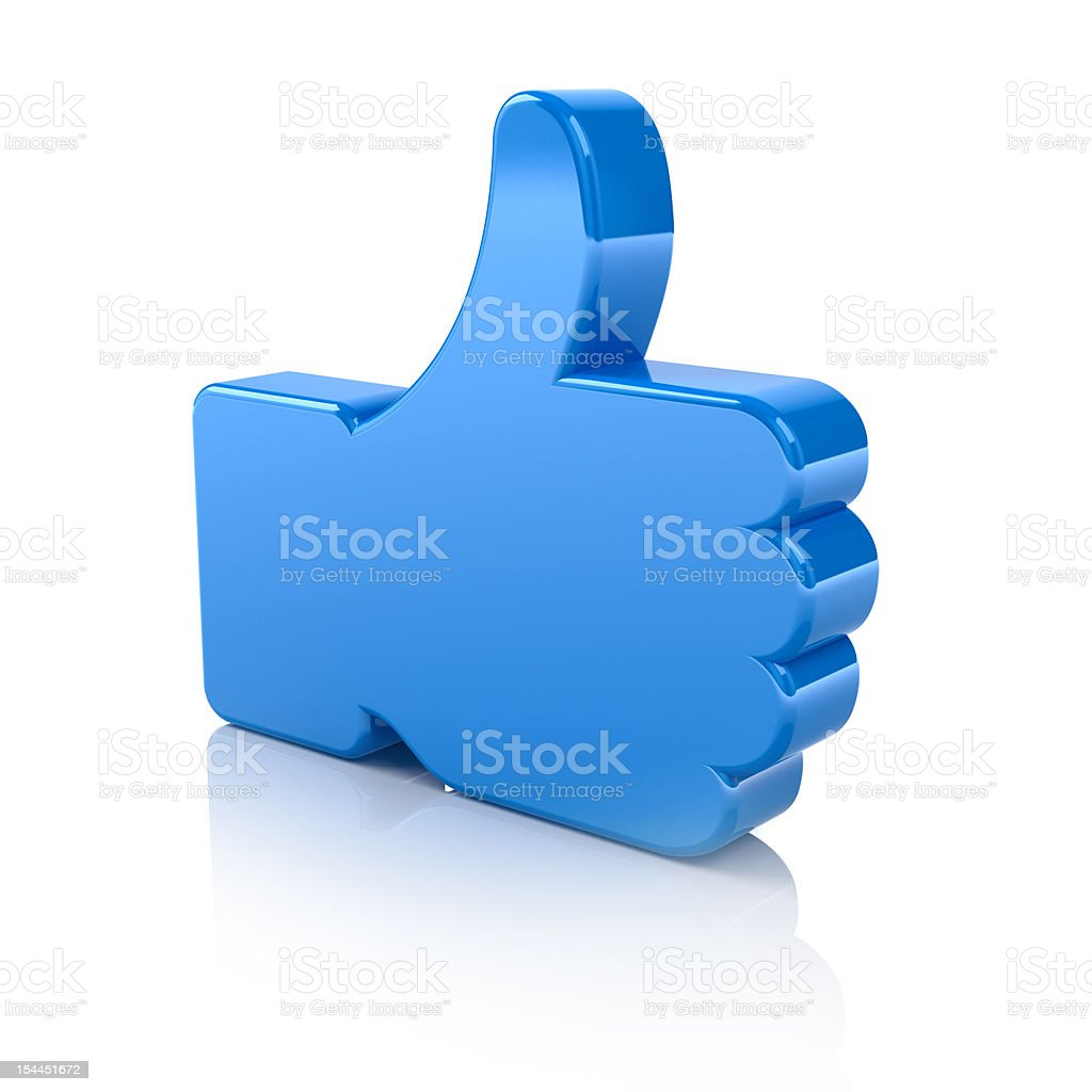 A blue thumbs up on a white background stock photo