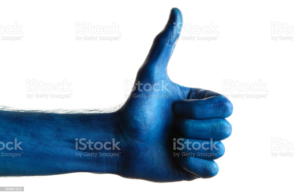 Blue thumbs up royalty-free stock photo