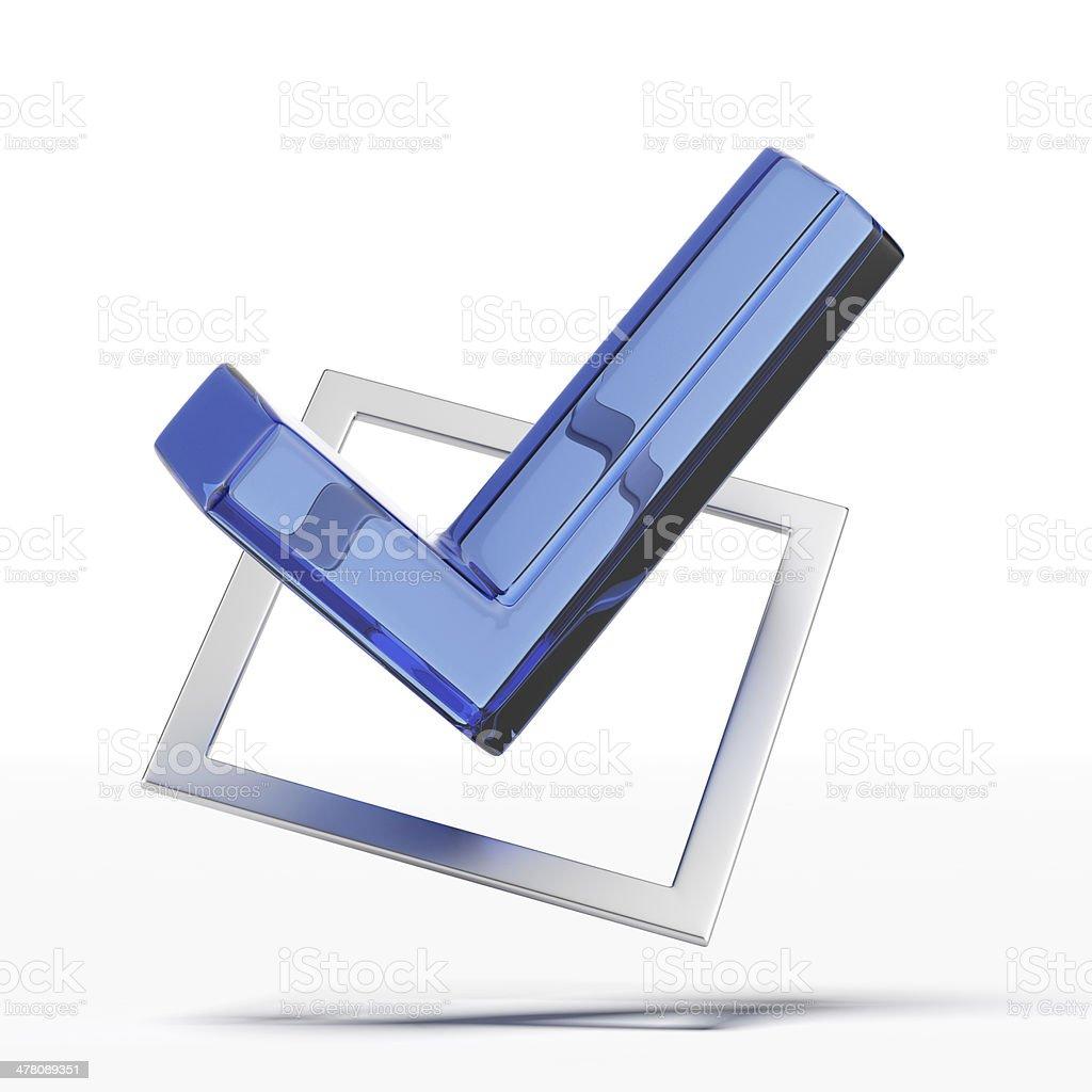 Blue tick royalty-free stock photo
