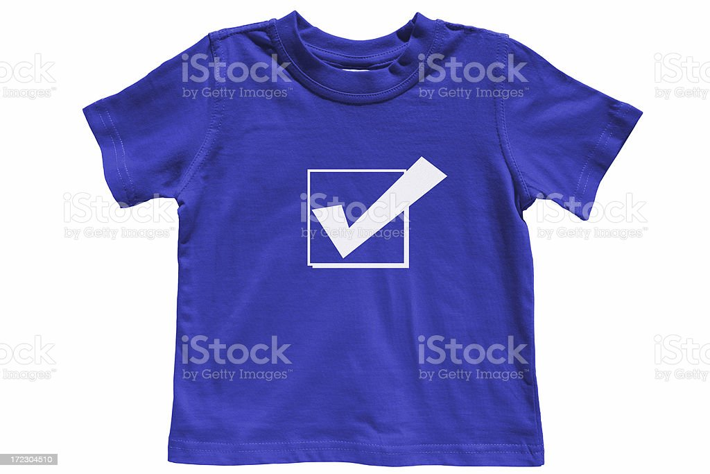 blue tick tee shirt with clipping path royalty-free stock photo