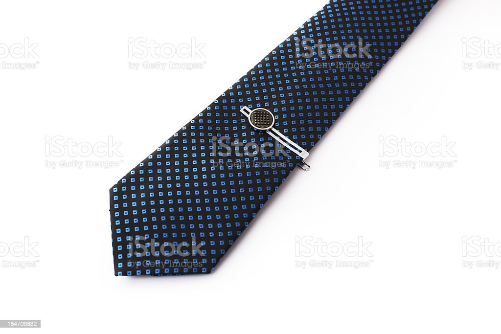 Blue Tie with a pin. stock photo
