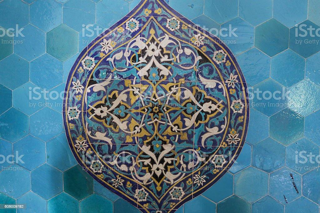 Blue Tile in Green Tomb, Bursa City stock photo