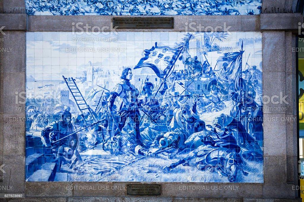 Blue Tiles illustration at São Bento Station in Porto stock photo