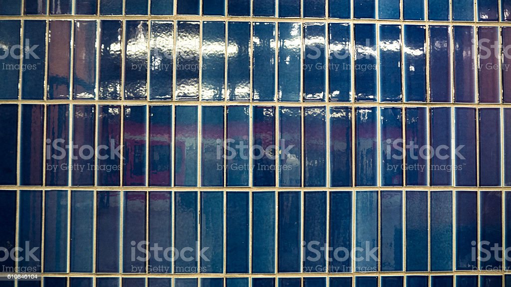 Blue Tiles with red and white barque stock photo