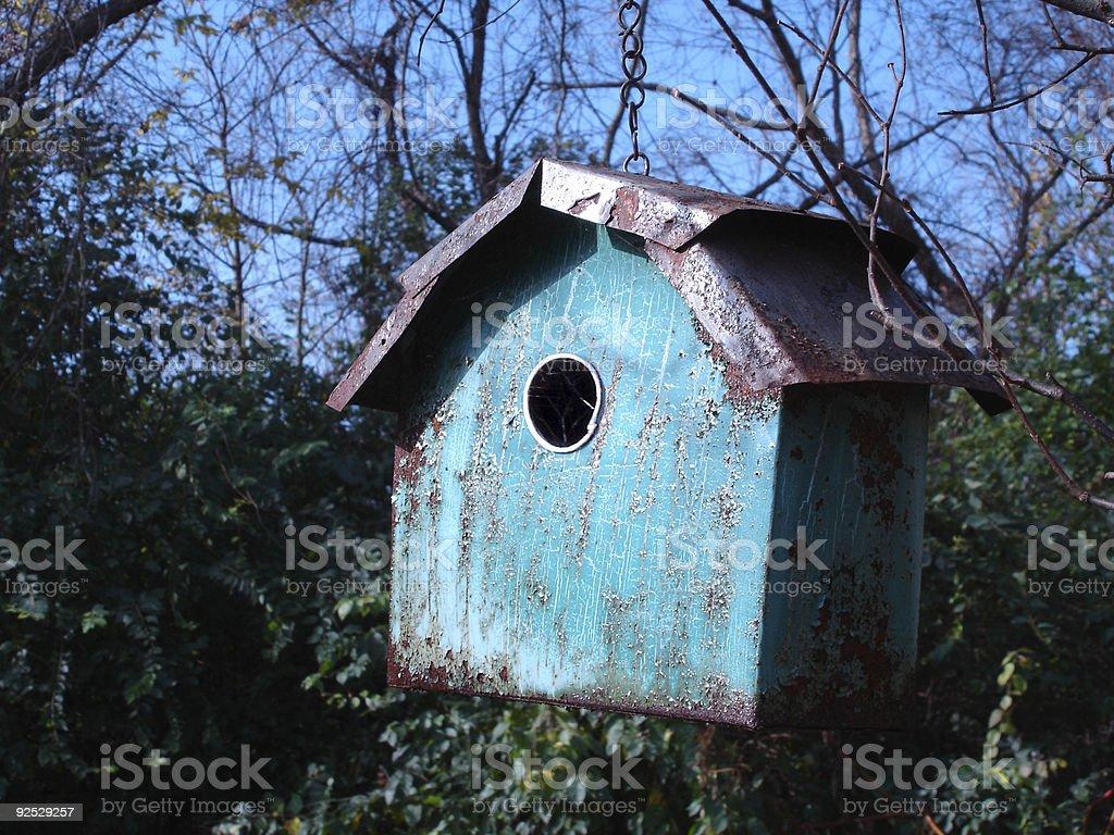 Blue Tin Bird Feeder royalty-free stock photo
