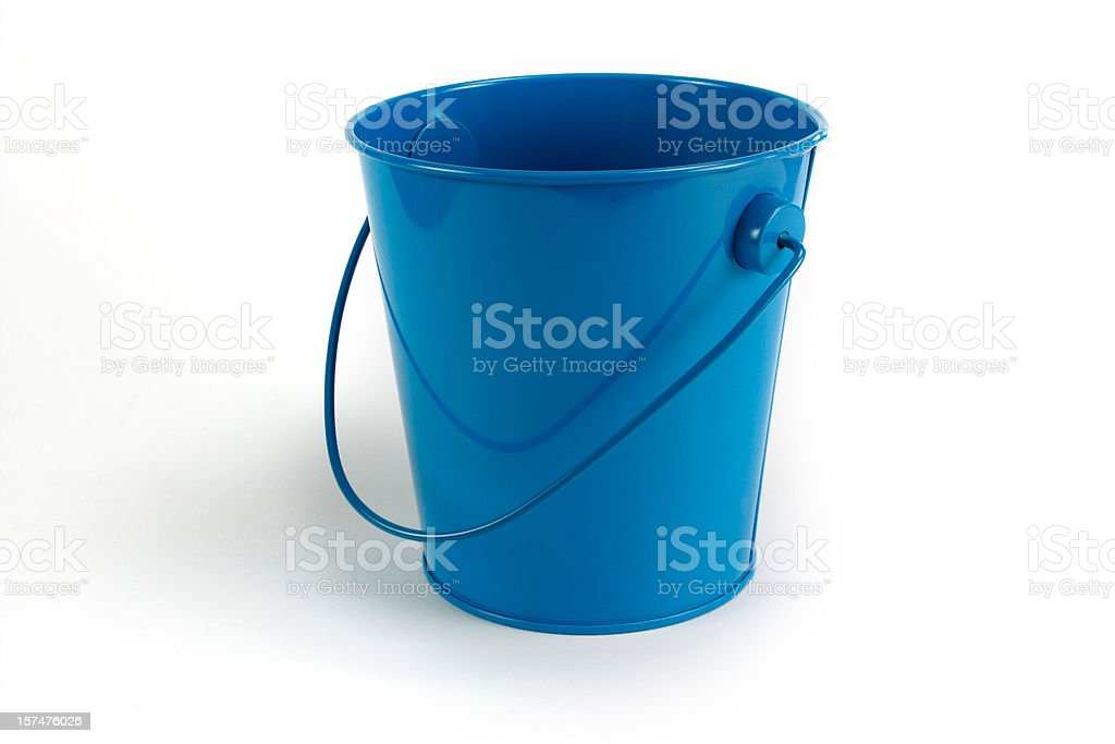 Blue tin pale isolated on white royalty-free stock photo