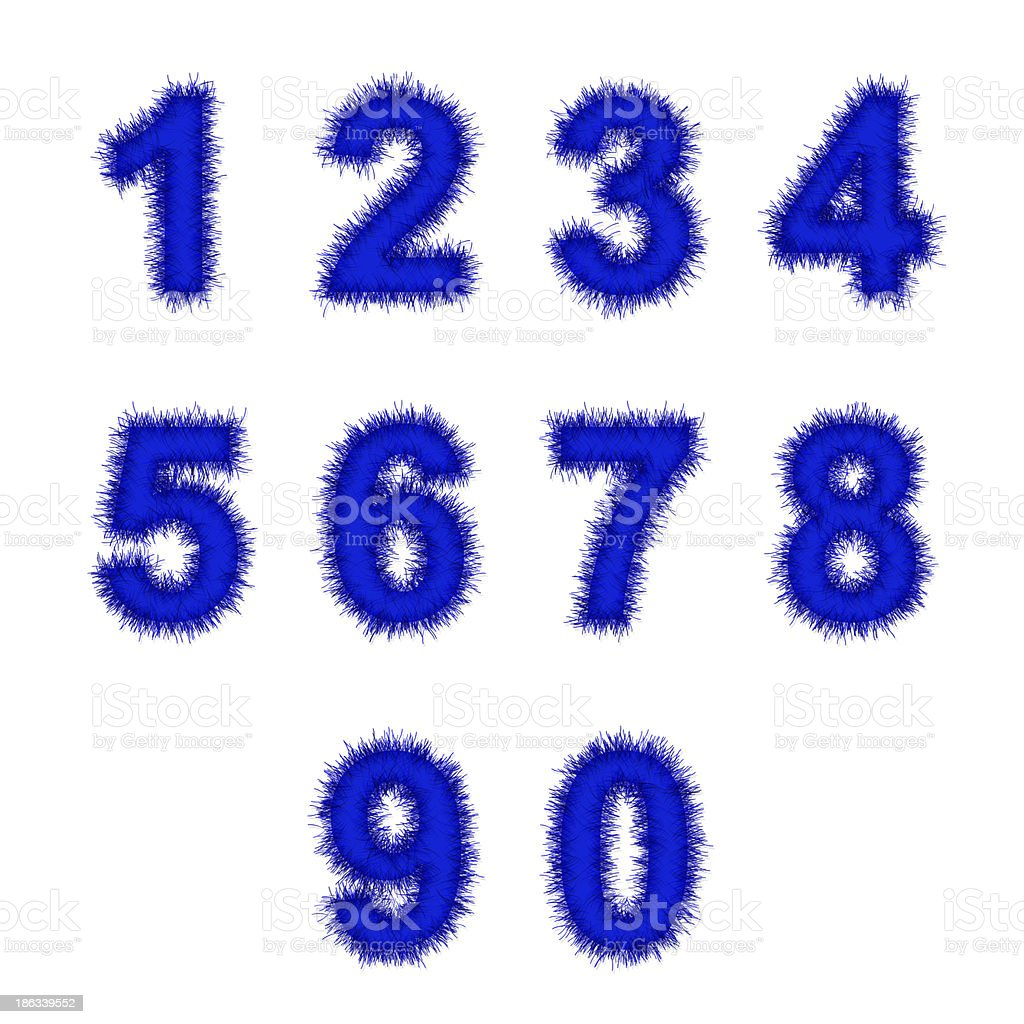 blue tinsel digits on white royalty-free stock photo