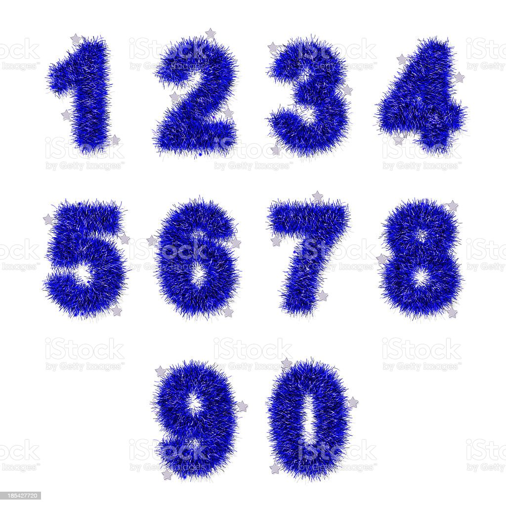 blue tinsel digits with star on white royalty-free stock photo
