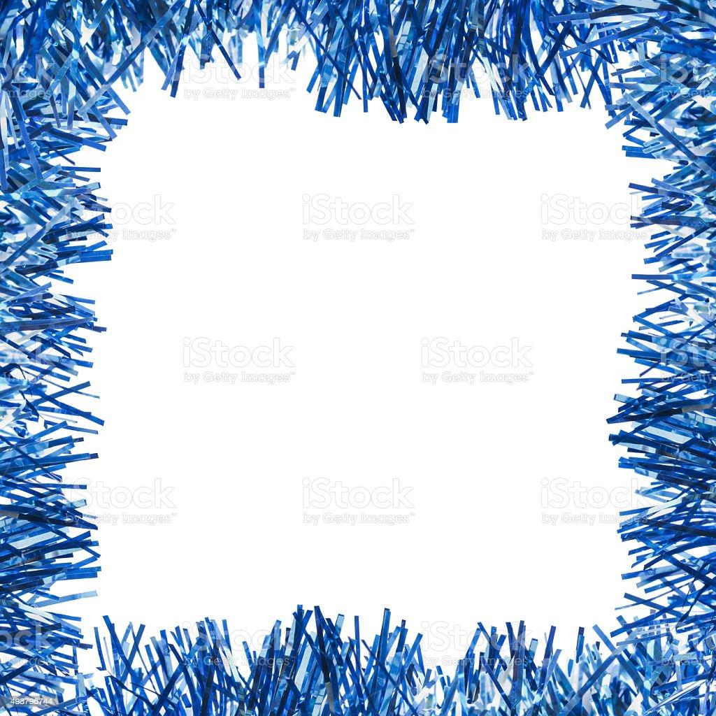 Blue tinsel frame stock photo
