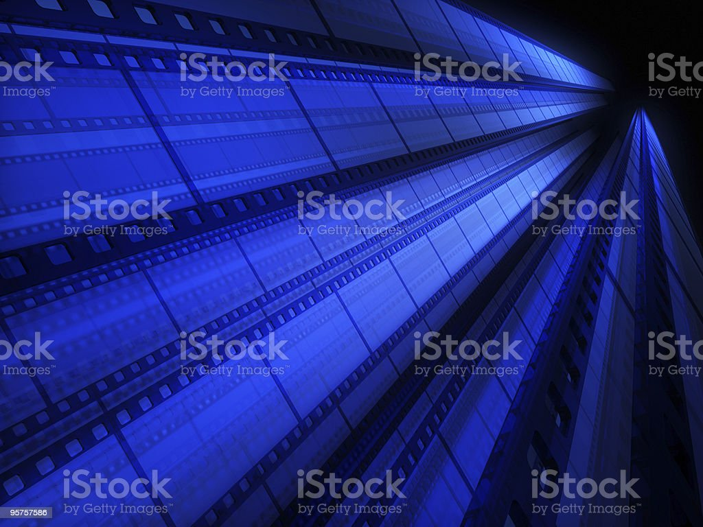 A blue tinted image of cinefilm as a background stock photo