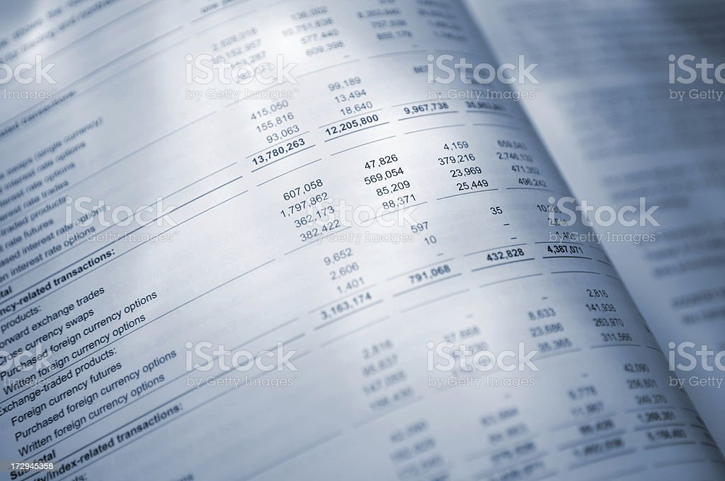 Blue Tinted Open Annual Report Pages royalty-free stock photo